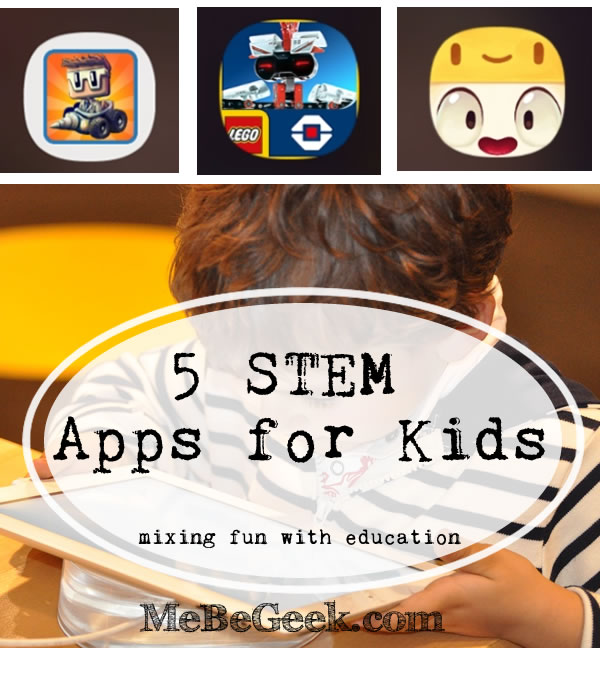 5 Stem Apps for kids - pinterest image